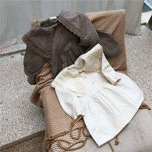 달콤한 공주 소녀 레이스 옷깃 드레스 어린이 긴팔 코튼 드레스 순수한 색상 여자 aline 드레스 버튼 복고풍 아기 드레스