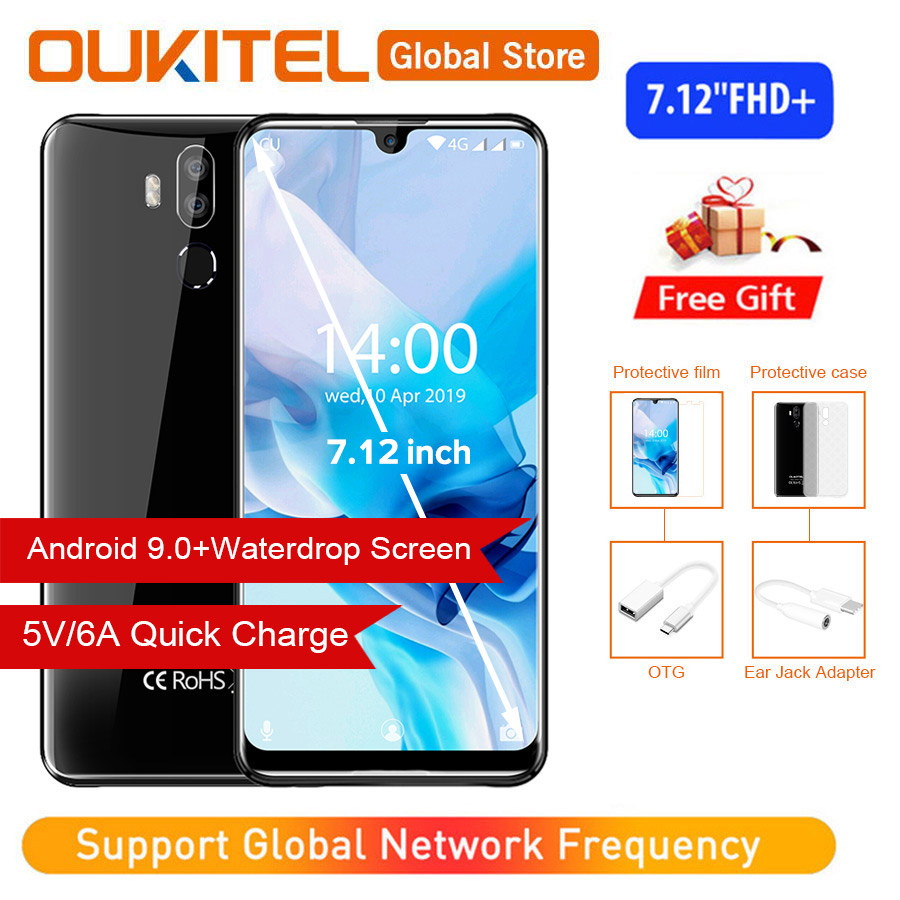 """OUKITEL K9 Waterdrop 7.12"""" FHD+ 1080*2244 16MP+2MP/8MP Smartphone 4GB 64GB Face ID 6000mAh 5V/6A Quick Charge OTG Mobile Phone"""