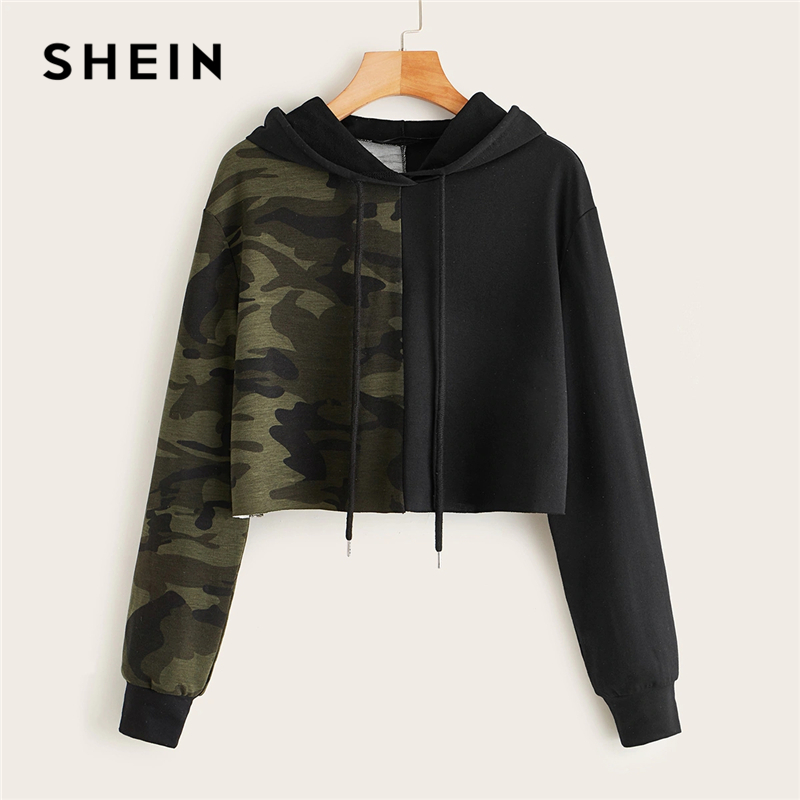 SHEIN Two Tone Camo Panel Hoodie Crop Sweatshirt Women Pullover Autumn Cut And Sew Drawstring Sporting Casual Sweatshirts