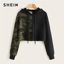 SHEIN Two Tone Camo Panel Hoodie Crop Sweatshirt Wo
