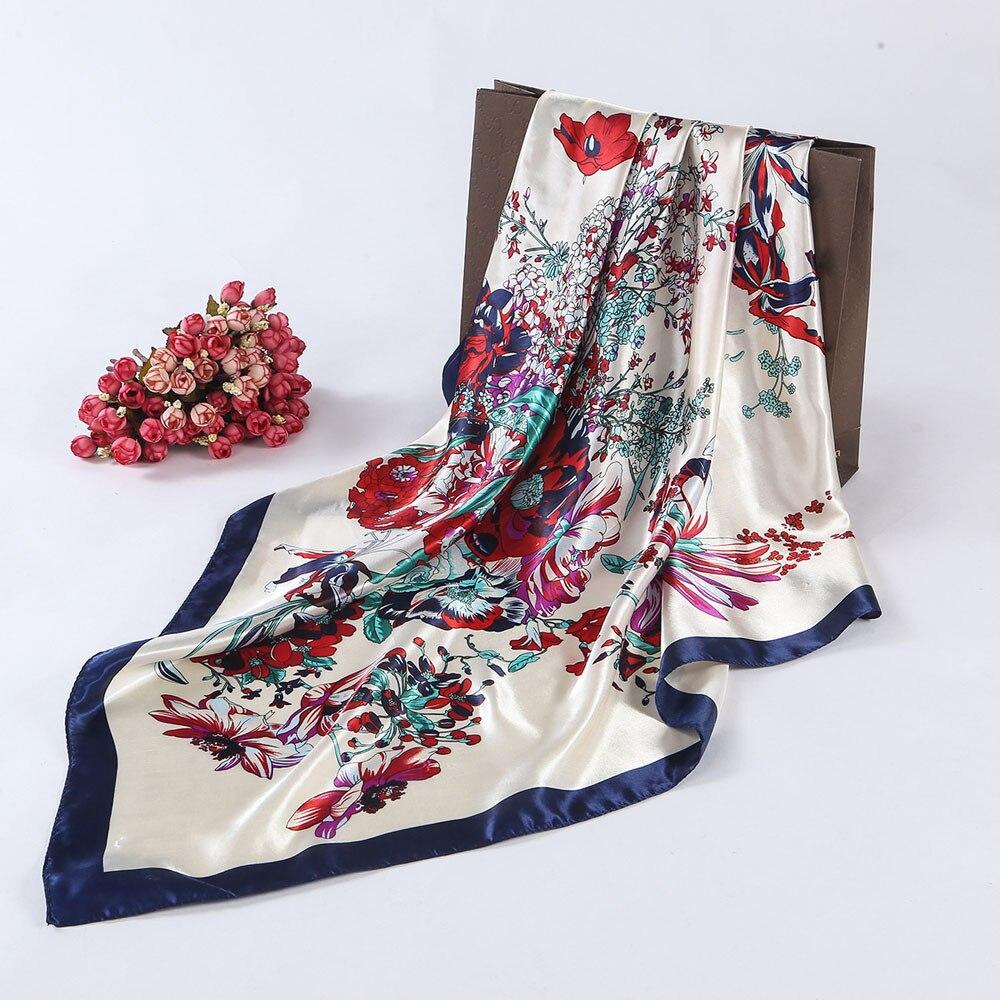 2019 New Autumn Winter Floral Printed Women Lady Square Scarf Head Wrap Fashion  Kerchief Neck Satin Shawl Elegant Scarf  #1002