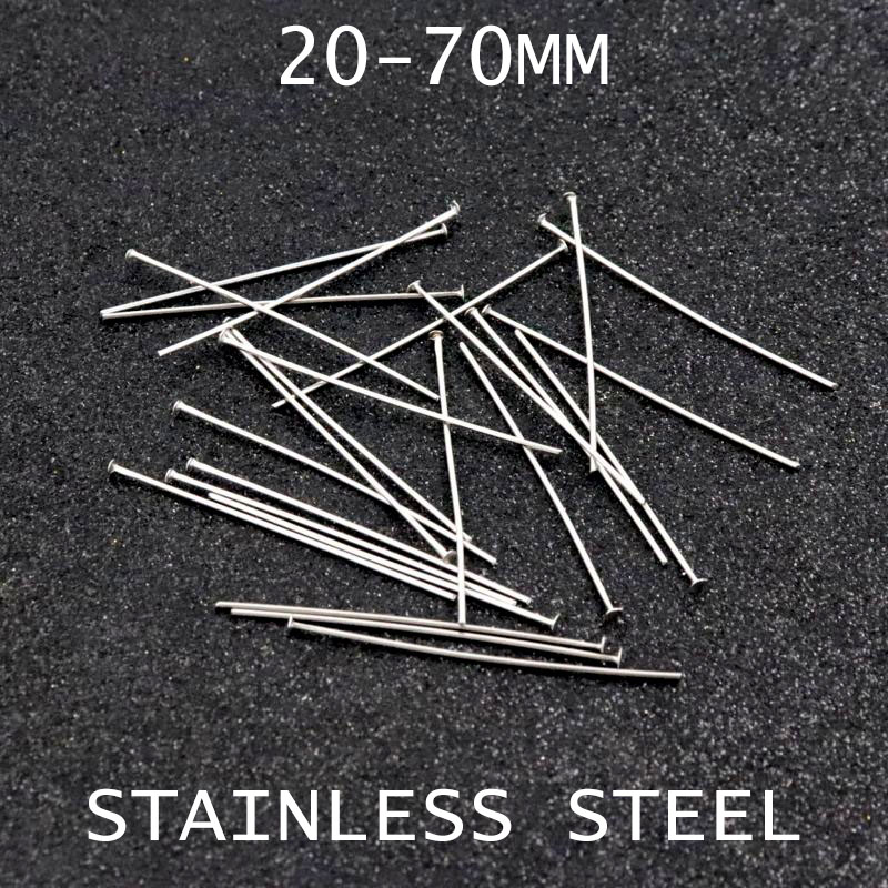 30 50 70mm 0.7mm Stainless Steel Flat Head Pins For Jewelry Making Diy Earring Bracelet Necklace Needlework Accessories Wholesal