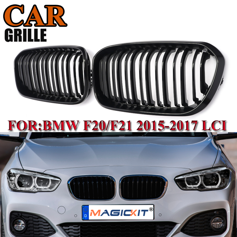 MagicKit For BMW F20 F21 1 Series 2015 2016 2017 Pair Gloss Black Double Slat Line Front Racing Grill Kidney Grill Performance image