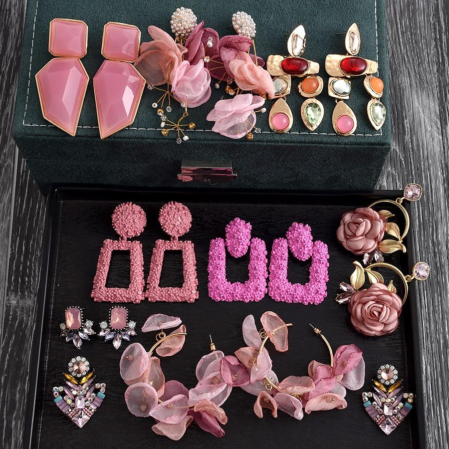 Новые корейские модные розовые полимерные серьги-подвески Ztech с бисером для женщин и девушек ZA, свадебные украшения, 30 дизайнов, бижутерия