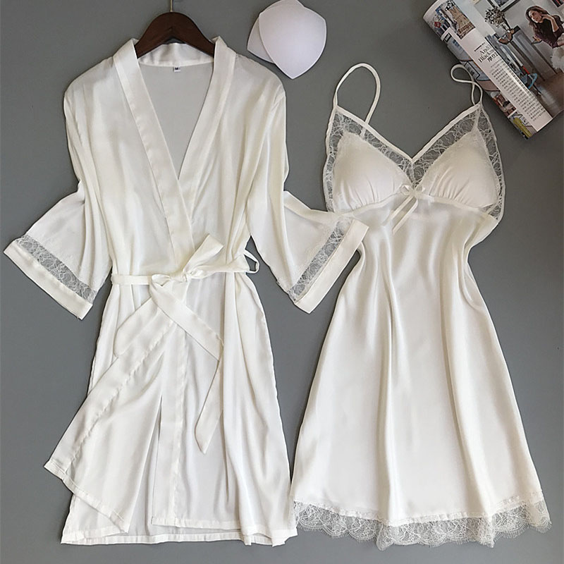 Women Robe & Gown Sets Bathrobe Night Dress With Chest Pads Ladies Nightwear Sexy Lace Sleep Lounge Pijama Long Sleeve
