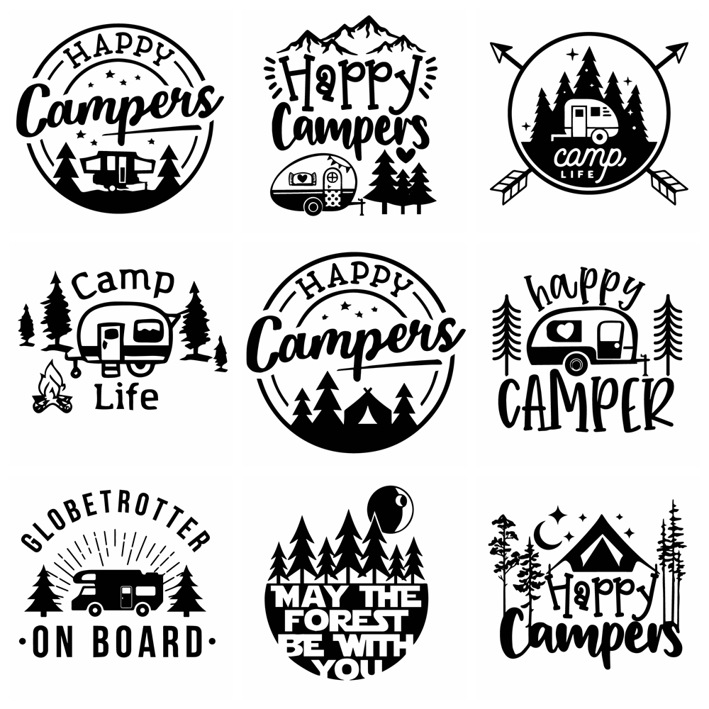 Creative Camping Car Sticker For Car Window Vinyl Decals Car Styling Self Adhesive Emblem Car Decoration Stickers