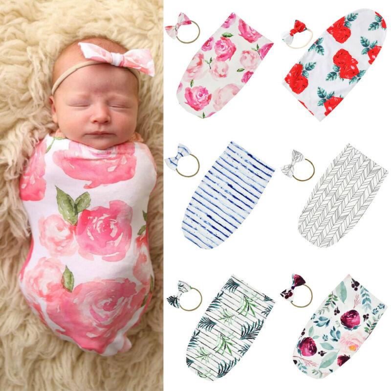 PUDCOCO Newborn Baby Floral Swaddle Wrap Blanket Sleeping Bag Sleep Headband Sack Bedding Outfits