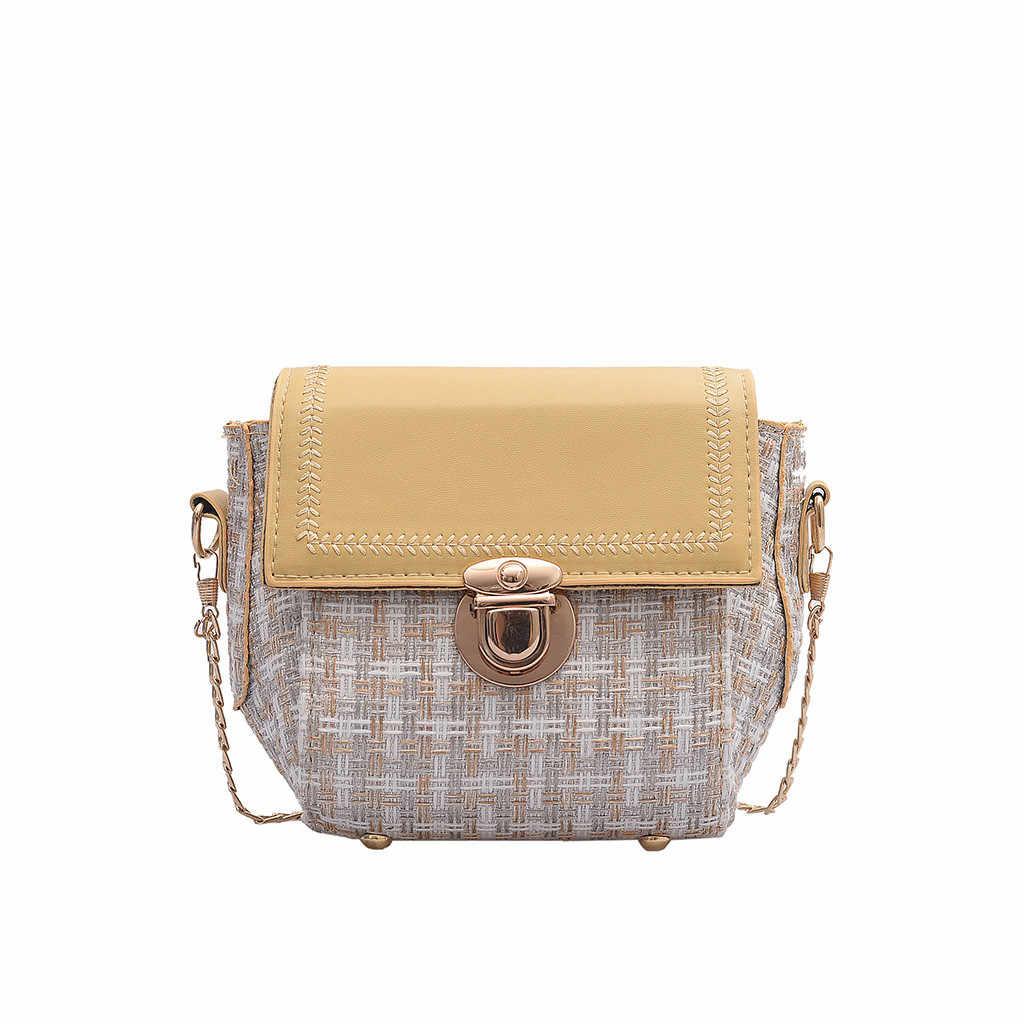 Contrast Kleur Lock Vrouwen Messenger Bag 2019 Fashion Casual PU Lederen Ketting Schouder Cross Body Handtas Kleine Vierkante Tas