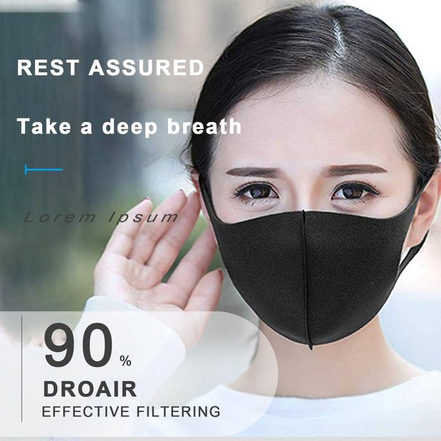 Sponge PM2.5 Black mouth Mask anti dust mask Activated carbon filter Windproof Mouth-muffle bacteria proof Flu Face masks Care 3