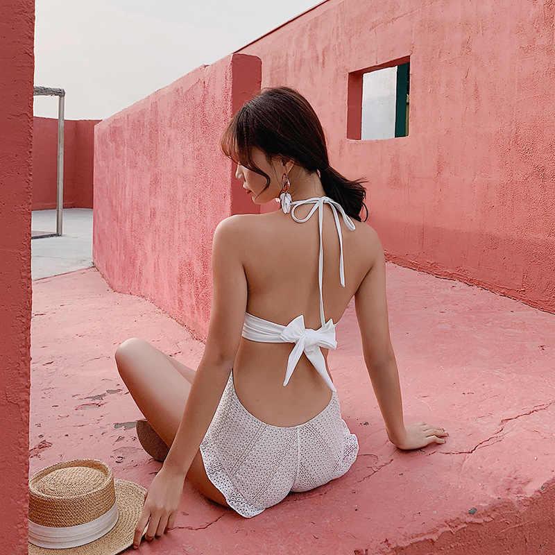 Bikinis femme 2019 femme maillot de bain dames femmes maillots de bain une pièce avec Push Up coréen Sexy rouge ombre plage natation solide