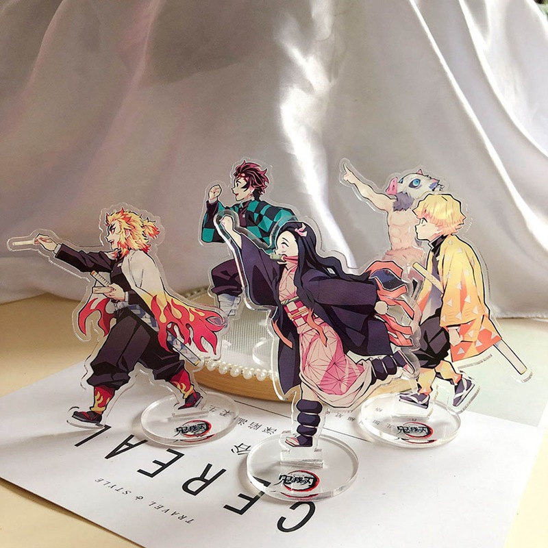 Demon Slayer Kimetsu No Yaiba Tanjirou Nezuko Zenitsu Inosuke #B Acrylic Stand Figure Model Plate Holder Cake Topper Anime