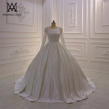 رداء ماري كريستال ستان مسلم كم طويل فستان الزفاف
