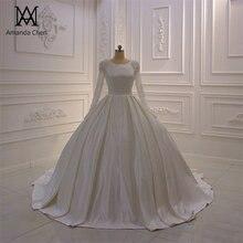 Elbise mariee kristal saten müslüman uzun kollu düğün elbisesi