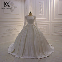 Robe mariee cristal cetim muçulmano manga longa vestido de casamento