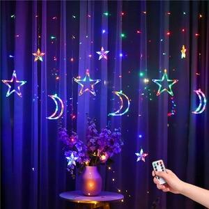 Image 1 - 220V Spina di UE Luna Star LED Tenda Luci Di Natale Fata Ghirlande Outdoor LED Scintillio Luci Della Stringa di Vacanze Decorazione di Festival