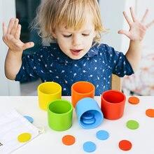 Montessori cor de madeira placa circular triagem empilhamento copo brinquedo kit montessori arco-íris jogo de correspondência brinquedo educativo para a criança