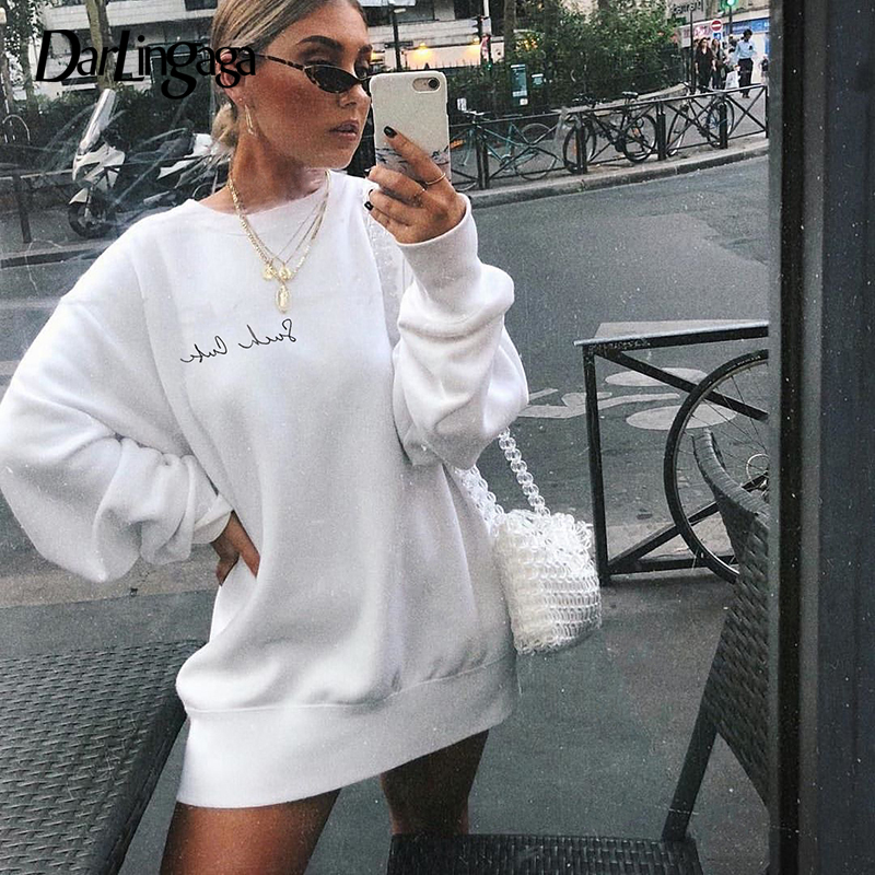 Darlingaga Autumn Winter Fleece Warm Oversized Hoodie Sweatshirt Women Loose Letter Embroidery Long Sweatshirts Pullover Moletom