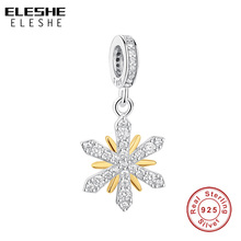 ELESHE Original European 925 Sterling Silver Beads Crystal Gold Snowflake Charms fit Pandora Bracelet DIY Jewelry Christmas Gift