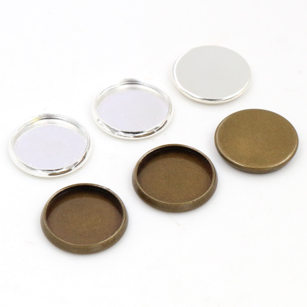 20pcs/lot 10mm 12mm Inner Size Stainless Steel Silver Plated Bronze Simple Style Cabochon Base Cameo Setting Charms Pendant Tray