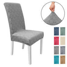 Фото - 1/2/4/6/8 Pcs Chair Cover Jacquard Waterproof Spandex Solid Simple Stretch Wedding Banquet Printing Chair Cover Home Party Decor straight stretchable chair cover 4 pcs black