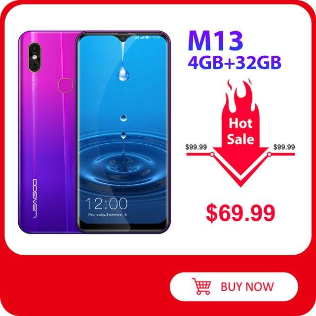 Leagoo teléfono inteligente M13, teléfono móvil 4G con Android 9,0 so, pantalla antigotas HD IPS de 6,1 pulgadas, 4GB RAM, 32GB ROM, procesador MT6761, batería de 3000mAh, cámara Dual
