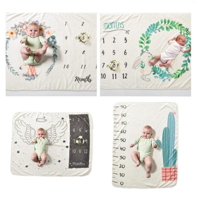 US Newborn Baby Girls Boy Blanket Milestone Photography Photo Backdrop Props