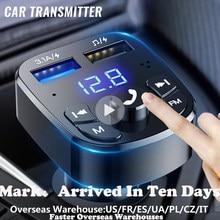 Carregador rápido do carro do jogo do jogador do carro do transmissor de bluetooth da versão 5.0 fm com qc3.0 voltímetro duplo de usb & aux dentro/para fora dc 12/24v