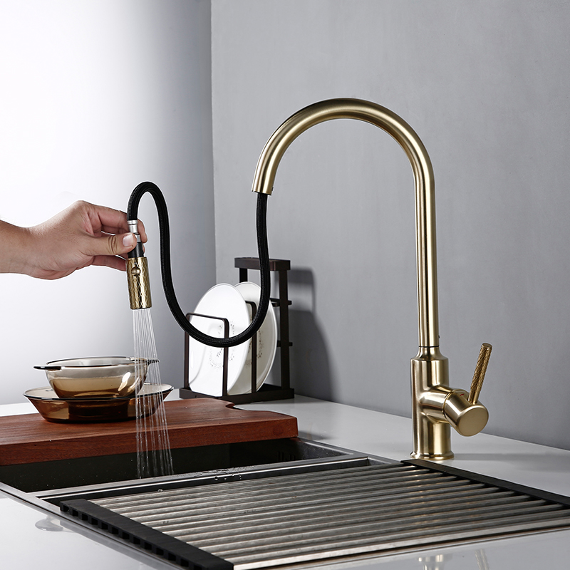 Luxury Brushed Golden 360 Swivel Bagnolux Pull Out Kitchen Faucet Hot And Cold Water Round Single Hole Kitchen Sink Mixer Tap