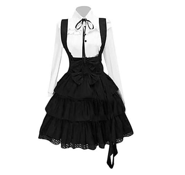 2020 Women's Classic Lolita Dress Vintage Inspired Women's Outfits Cosplay Anime Girl Black Long Sleeve Knee Length Shirt Dress