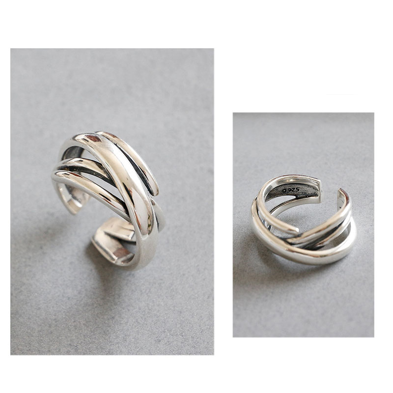 925 Sterling Silver Rings For Women Bohemian Adjustable Geometric Irregular Rings Exaggerated Novelty Jewelry S-R406