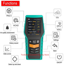 8 в 1 CO2 HCHO PM1.0 PM2.5 PM10 детектор времени Дата формальдегида газовый монитор VOCs Экспорт История данных внешний TF хранения