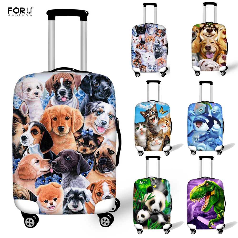 FORUDESIGNS Cute Dog Panda Dinosaur Animal Printing Luggage Protective Cover For Elastic 18-32 Inch Suitcase Travel Accessories