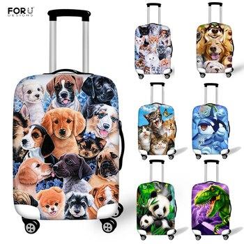 FORUDESIGNS lindo perro Panda dinosaurio Animal impreso equipaje cubierta protectora para elástico 18-32 pulgadas maleta accesorios de viaje
