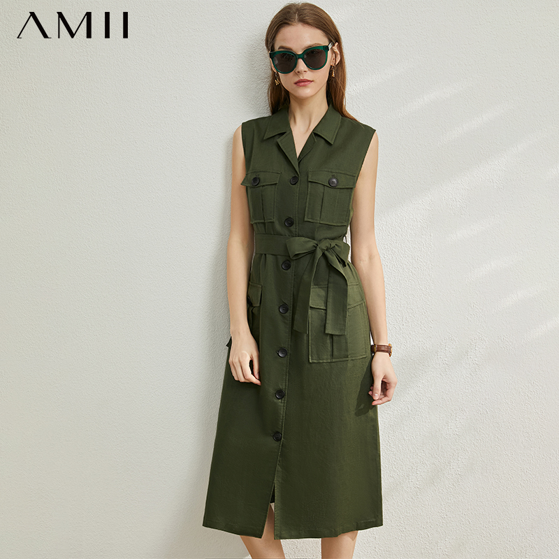AMII Minimalism Spring Summer Solid Lapel Women Dress Sleeveless Single-breasted Belt Knee-length Dress 12070177