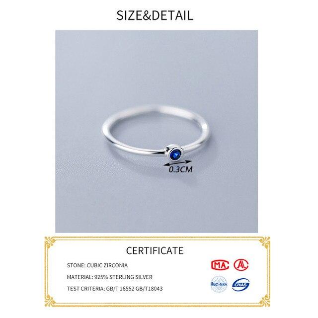 INZATT Real 925 Sterling Silver Blue Zircon Round Ring For Fashion Women Cute Fine Jewelry 2019 Minimalist Accessories Gift 1