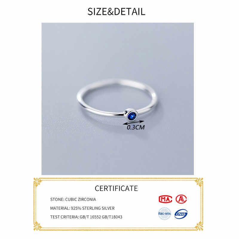 INZATT Real 925 Sterling Silver Blue Zircon แหวนกลมสำหรับแฟชั่นผู้หญิงน่ารักเครื่องประดับ Fine 2019 Minimalist อุปกรณ์เสริมของขวัญ