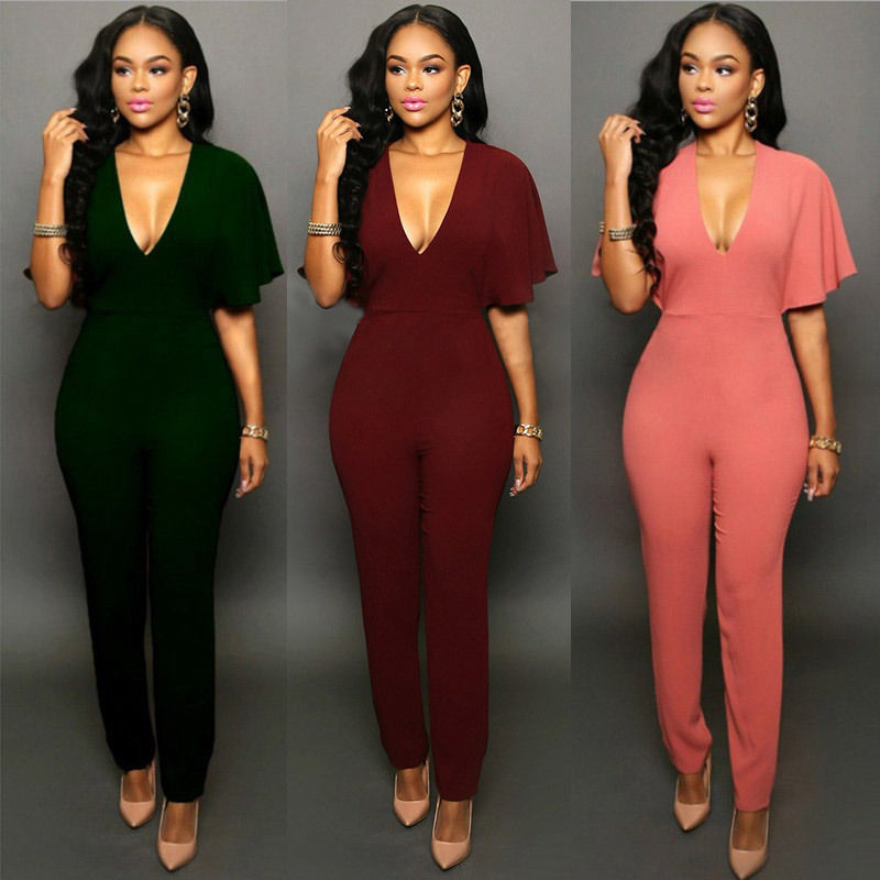 New Women Clubwear V-neck Jumpsuits Party  Slim  Fit Solid Playsuits Romper Trousers