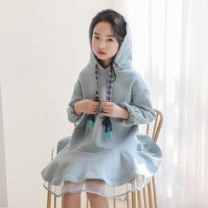 Image 1 - Детское платье с длинными рукавами для девочек весенне осенние толстовки с капюшоном, платья свитеры хлопковая однотонная свободная одежда для подростков 10 12 лет, Новинка