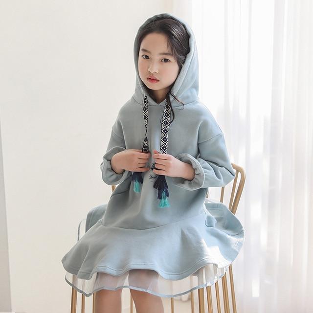 Детское платье с длинными рукавами для девочек весенне осенние толстовки с капюшоном, платья свитеры хлопковая однотонная свободная одежда для подростков 10 12 лет, Новинка