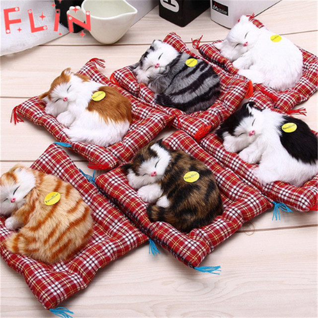 Simulation  Stuffed Cats Home Decorations Toys Lovely Animal Doll Plush Lazy Sleeping Gifts Fiesta Plush Toy With Sound Crafts 1