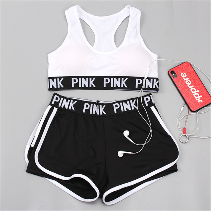 Women Tracksuit For Summer Spring Outfit Pink Print Tank Tops Female Two Piece Set Sports Matching Sets 2020 Drop Shipping