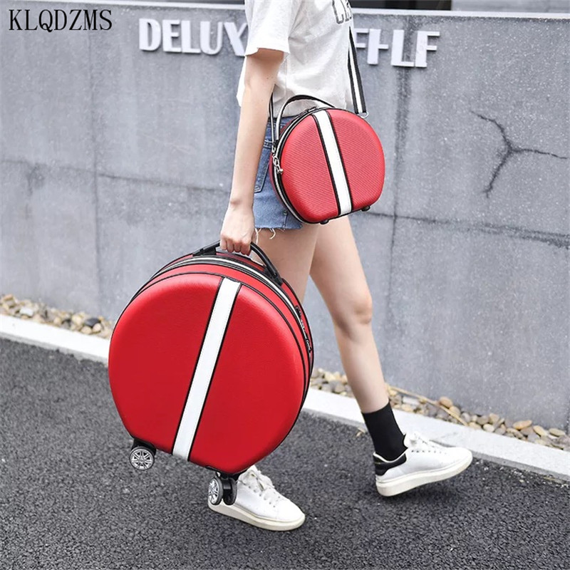 KLQDZMS Creative Round Suitcase Set Hand Luggage 18 Inch Ladies Small Trolley Case Fashion  Boarding Suitcase Universal Wheel