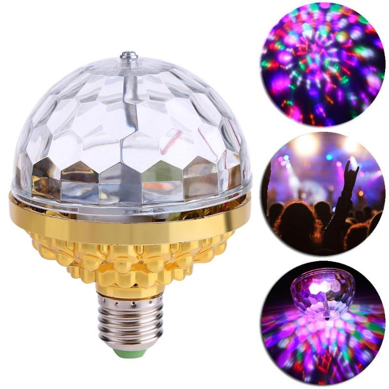 Christmas Decoration Rotating Crystal Magic Ball  LED Stage Light Bulb E27 6W RGB Colorful Rotate Disco Party Effect Lamp Decor