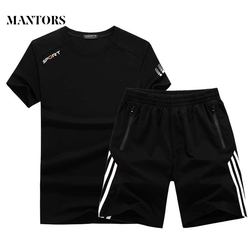 Summer New Men Sets Solid Striped Slim Fit Mens Tracksuit Big Size M-8XL 2019 Fashion Sportswear Male Short Suits Chandal Hombre