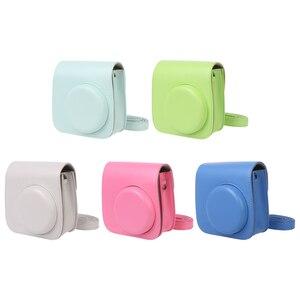 Image 5 - Colorida funda protectora para cámara de hombro para Polaroid Fujifilm Mini 8 8 + 9 Instax, funda protectora de cuero Pu para cámara