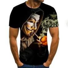 2020 New Men T Shirt Sketch The Clown 3d Printed T Shirt Men Joker Face Casual O -Neck Male Tshirt Clown Short Sleeved Joke Tops
