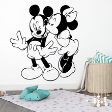 Cartoon Disney Mickey Minnie Mouse Kissing Wall Stickers For Home Decor Kids Room Vinyl Decals Mural Art Decoration