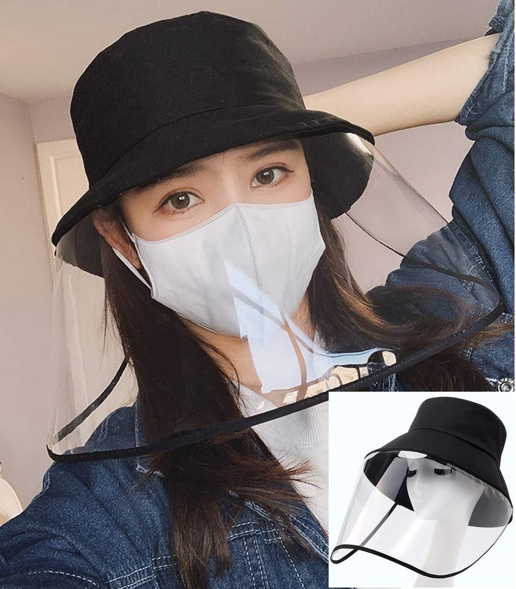 Transparent Mask Hat Protective Particulate Anti-Spitting Splash Windproof Face Shield Prevent Saliva Droplet Removable Mask