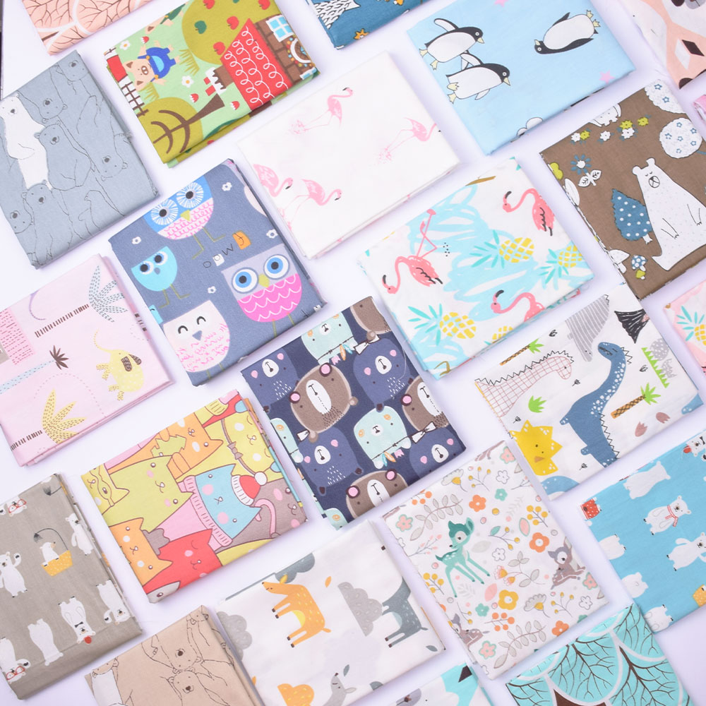 100% Cotton Cartoon Twill Fabric For Quilting ,Kids Patchwork Cloth,DIY Sewing Fat Quarters Material Fabric For Children Baby(China)