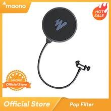 MAONO Micro Màng Lọc Âm Kim Loại Nhạc Pop Lọc Lá Chắn 2 Lớp Kính Chắn Gió Popfilter Cho USB Microhone Podcast Micro